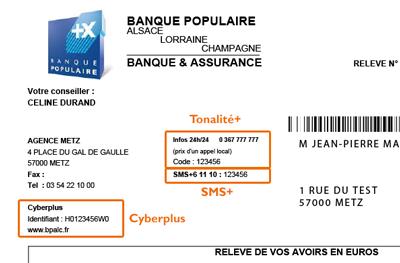 Identifiants Cyberplus, Tonalité + et SMS +